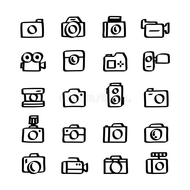 Sistema del ejemplo de iconos de la cámara ilustración del vector