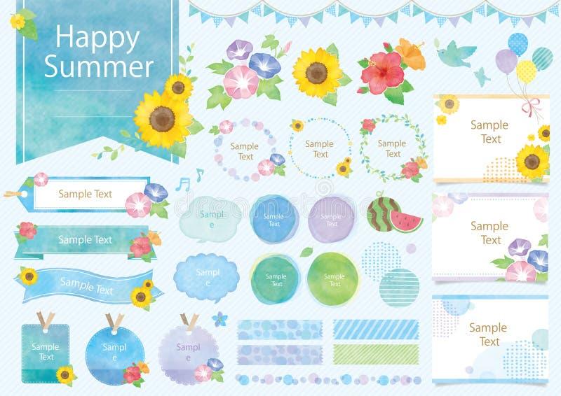 Sistema del ejemplo de la acuarela del verano libre illustration
