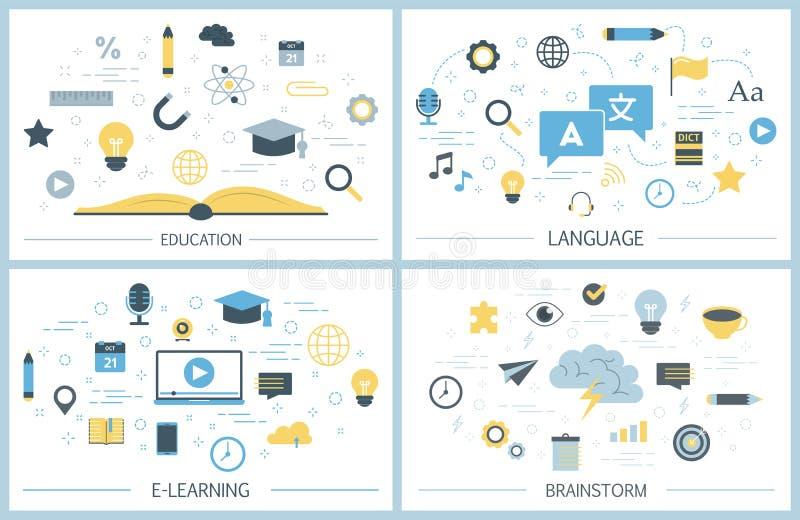 Sistema del ejemplo de la educación Idea del conocimiento y del aprendizaje ilustración del vector