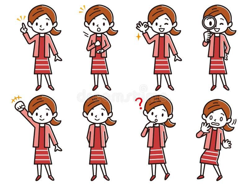 Sistema del ejemplo de la expresión de una señora joven stock de ilustración