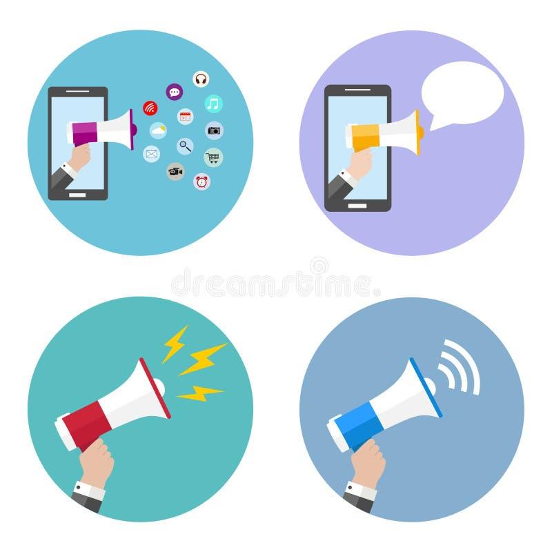 Sistema del ejemplo de la mano que sostiene un megáfono, concepto del márketing de la promoción en un círculo multicolor ilustración del vector