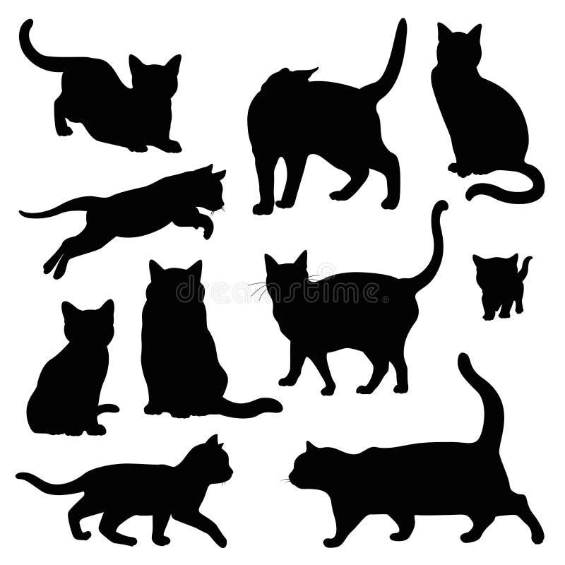 Sistema del ejemplo de la silueta del gato aislado en blanco libre illustration