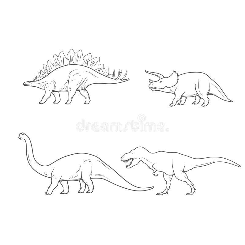 Sistema del ejemplo de los dinosaurios aislado en el fondo blanco Vector ilustración del vector
