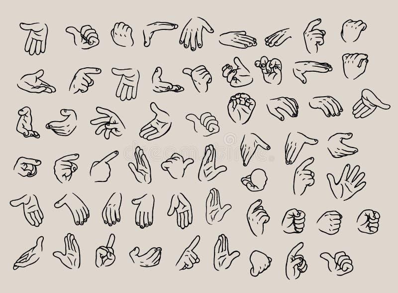 Sistema del ejemplo de los gestos de mano de la historieta del vector ilustración del vector