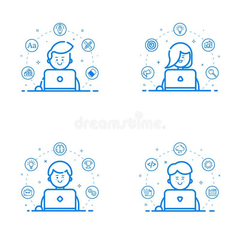 Sistema del ejemplo del vector de estilo linear y del esquema plano azul Concepto de diseño gráfico - equipo del estudio del web libre illustration