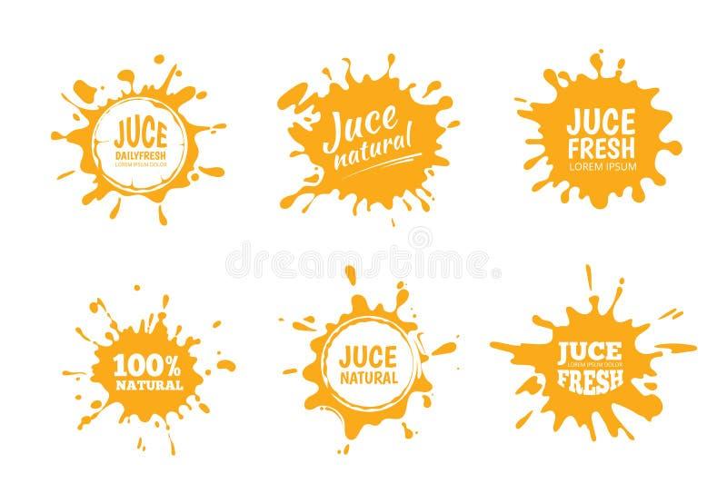 Sistema del ejemplo del vector de etiquetas amarillas del jugo o de la miel libre illustration