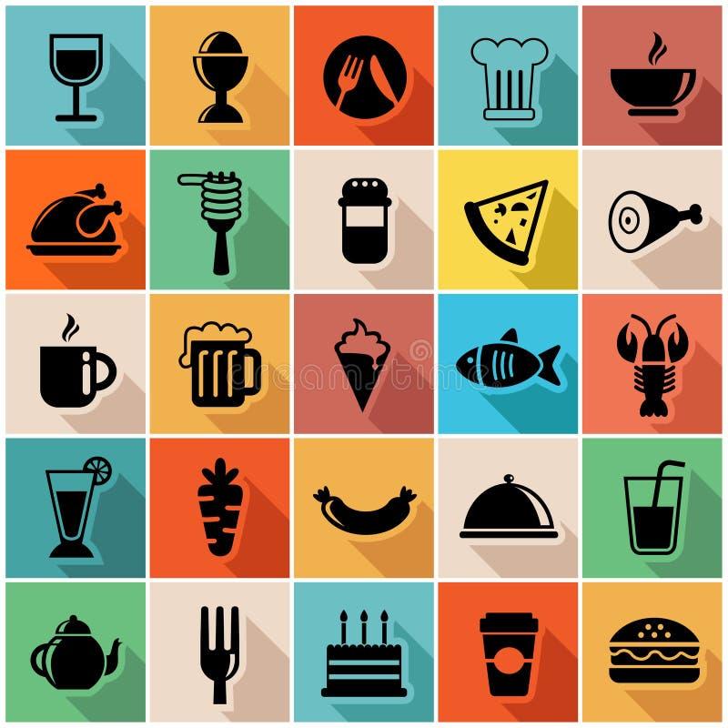 Sistema del ejemplo del vector de iconos coloridos de la comida adentro  stock de ilustración