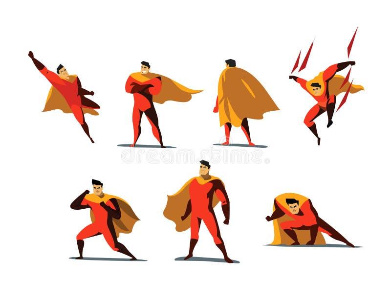 Sistema del ejemplo del vector de las acciones del super héroe, diversas actitudes fotografía de archivo libre de regalías