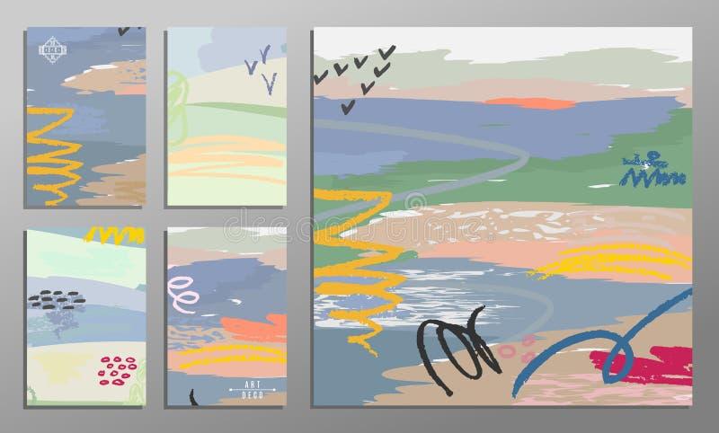 Sistema del ejemplo del vector de tarjetas universales coloridas artísticas Texturas del cepillo Boda, aniversario, cumpleaños, d stock de ilustración