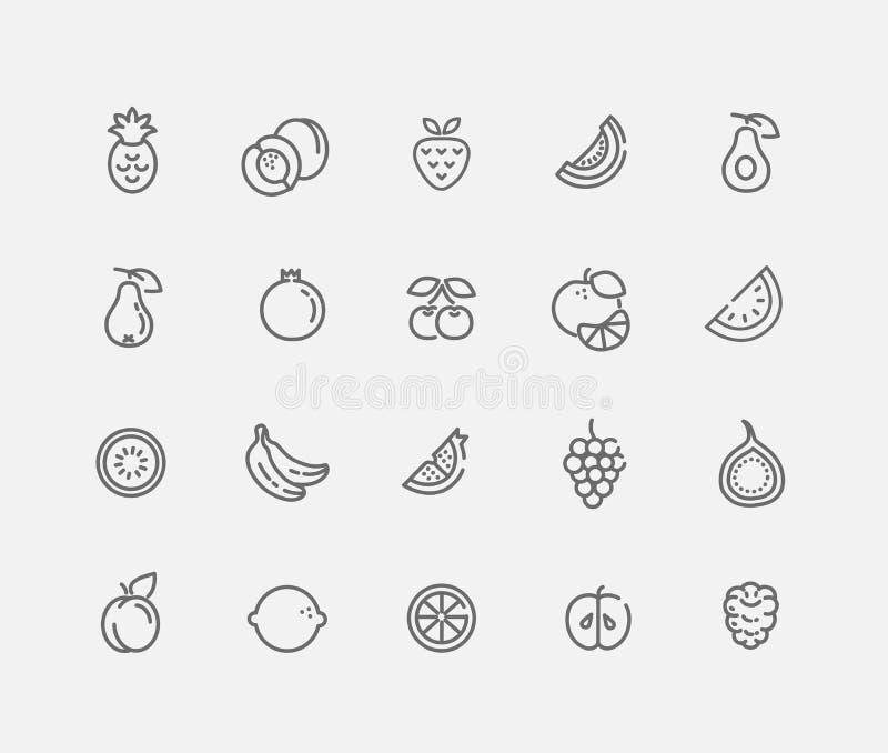 Sistema del ejemplo del vector del icono de la fruta del movimiento del esquema fotografía de archivo libre de regalías
