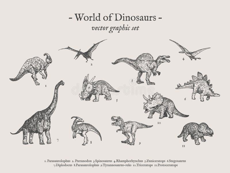 Sistema del ejemplo del vector del vintage de los dinosaurios fotografía de archivo