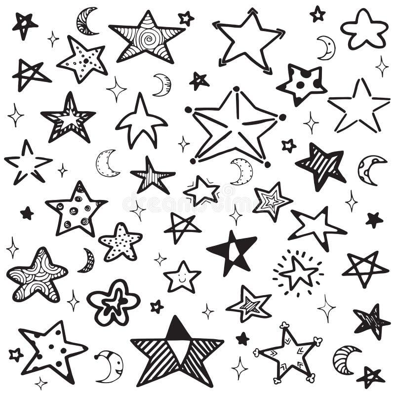 Sistema del ejemplo dibujado mano del vector de la estrella del esquema del garabato stock de ilustración