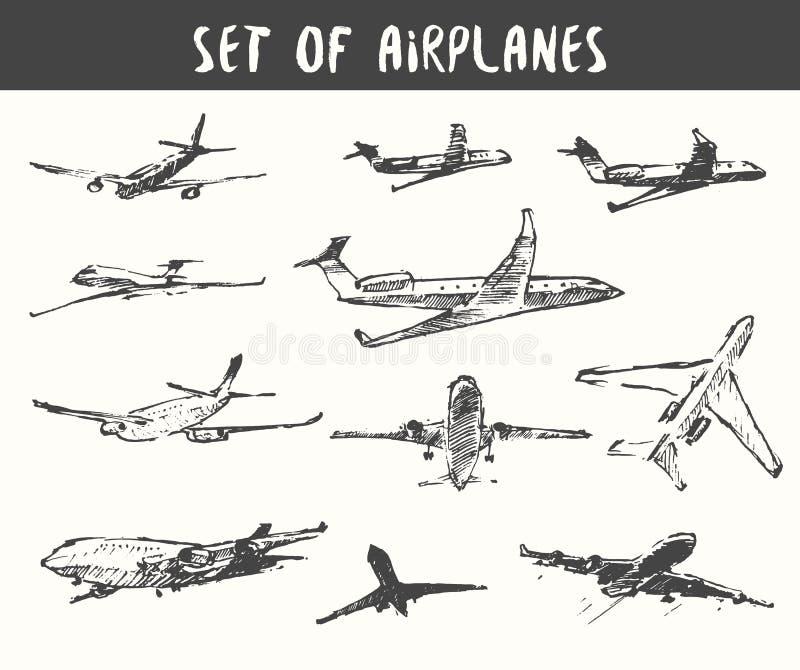 Sistema del ejemplo dibujado mano del vector de los aeroplanos stock de ilustración