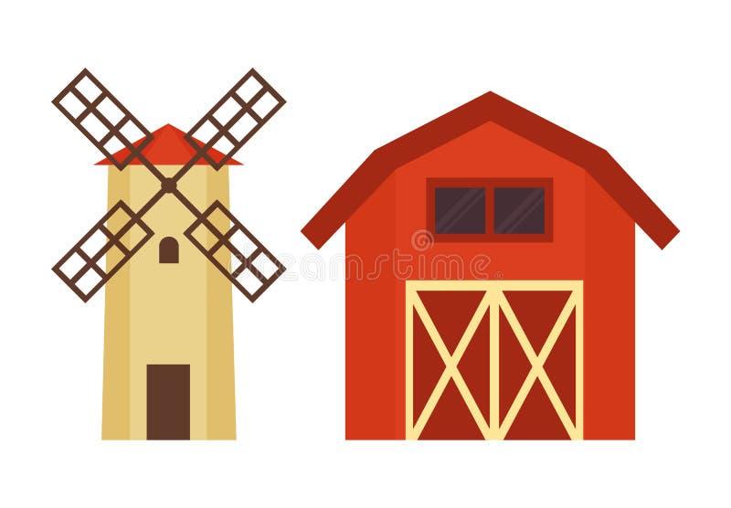 Sistema del ejemplo del edificio de la torre del granero y de agua stock de ilustración