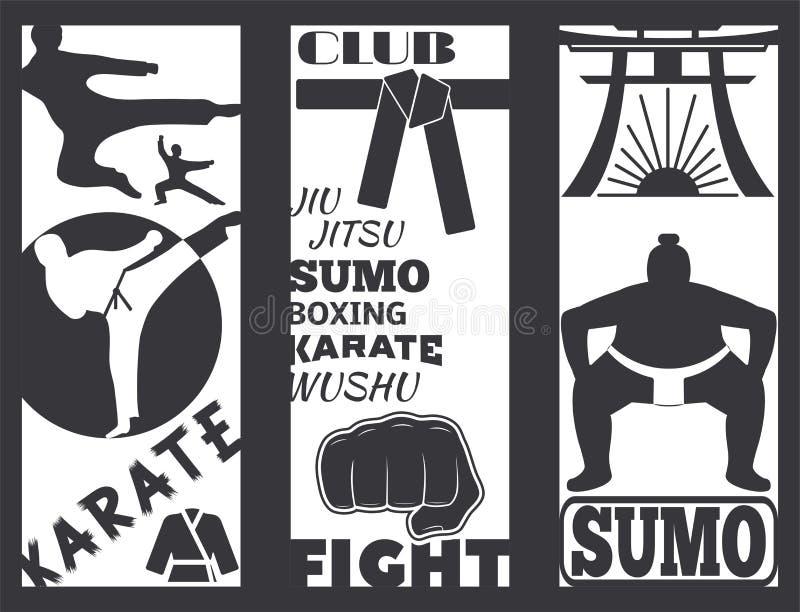 Sistema del ejemplo fresco del vector del karate del puño del deporte del sacador de tarjetas de la lucha del folleto del club qu ilustración del vector