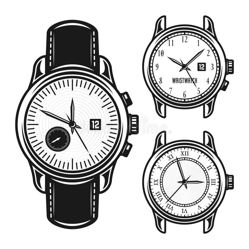 Sistema del ejemplo mecánico del vector de los relojes de los hombres ilustración del vector