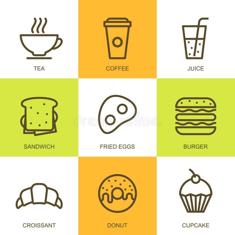 Sistema del ejemplo plano de la comida del vector Iconos multicolores del desayuno libre illustration
