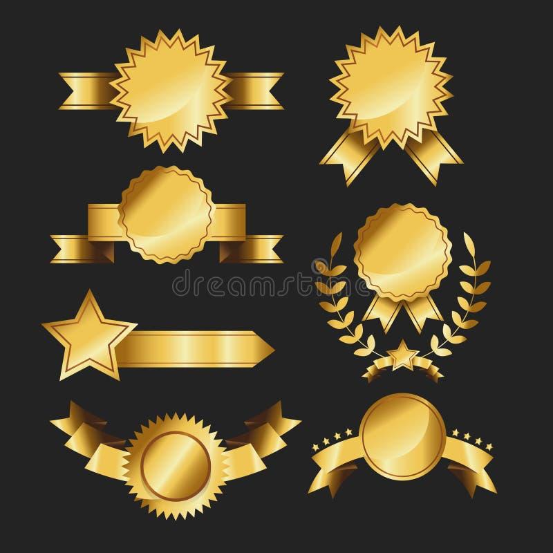 Sistema del ejemplo retro del vector de las cintas del oro de las etiquetas del oro de la cinta de la calidad del premio de la co ilustración del vector