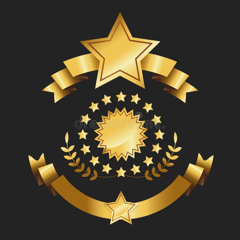 Sistema del ejemplo retro del vector de las cintas del oro de las etiquetas del oro de la cinta de la calidad del premio de la co stock de ilustración