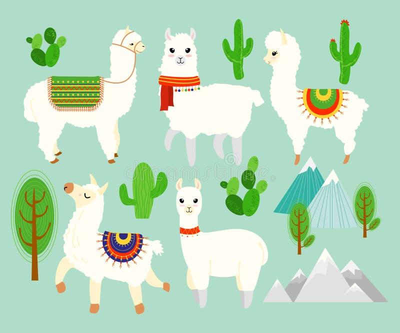 Sistema del ejemplo del vector de alpacas y de llamas divertidas lindas con los elementos del cactus, montañas en fondo azul enca libre illustration