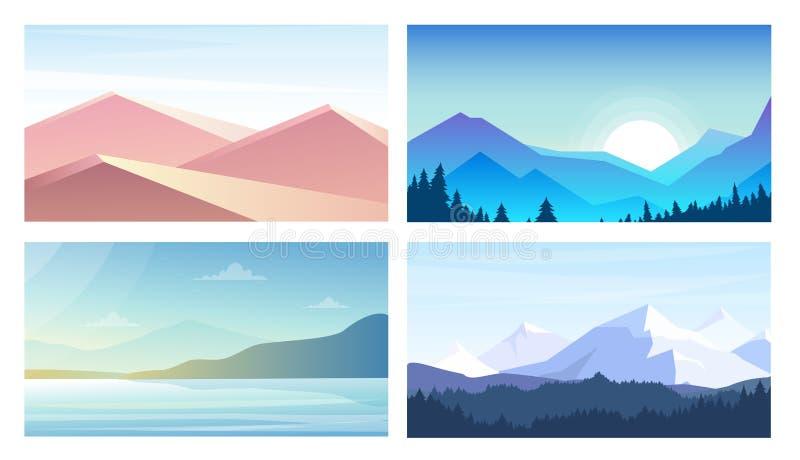 Sistema del ejemplo del vector de banderas con paisajes, Mountain View, el desierto, la playa en estilo plano y colores en colore libre illustration