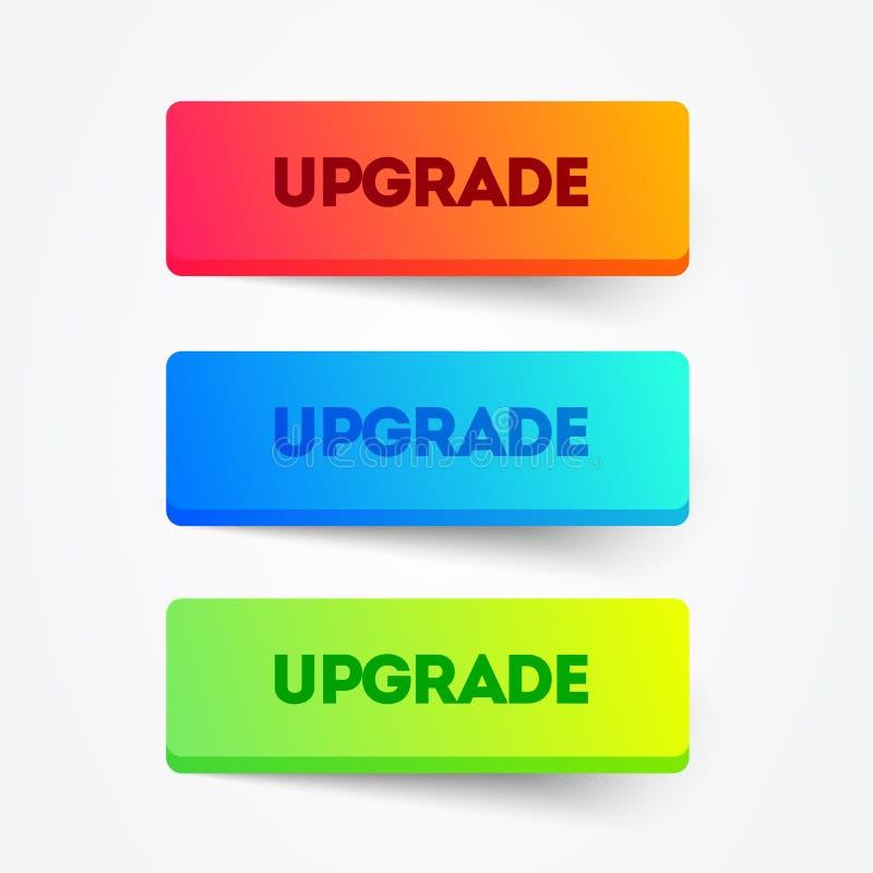 Sistema del ejemplo del vector de botones coloridos de la mejora Elemento del Web ilustración del vector