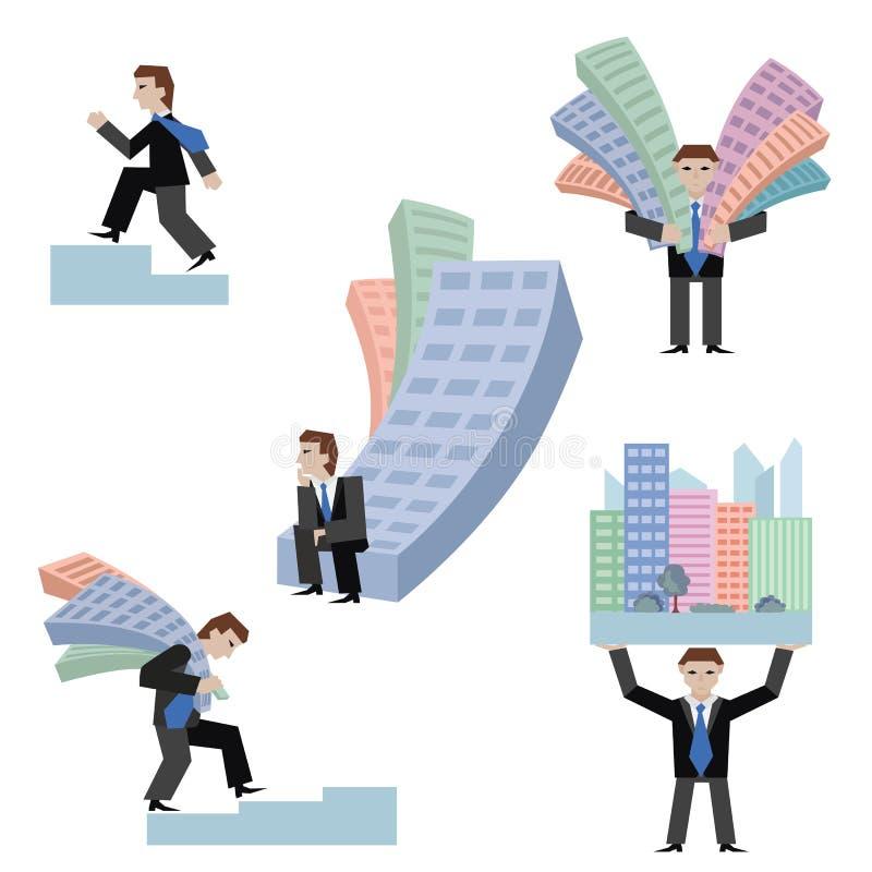 Sistema del ejemplo del vector de businessmans con las casas que colocan ir que se sienta en la carta, fondo blanco aislado Negoc fotos de archivo