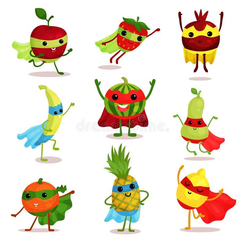 Sistema del ejemplo del vector de caracteres felices de la fruta del super héroe en diversas actitudes, tarjeta o elementos de la ilustración del vector