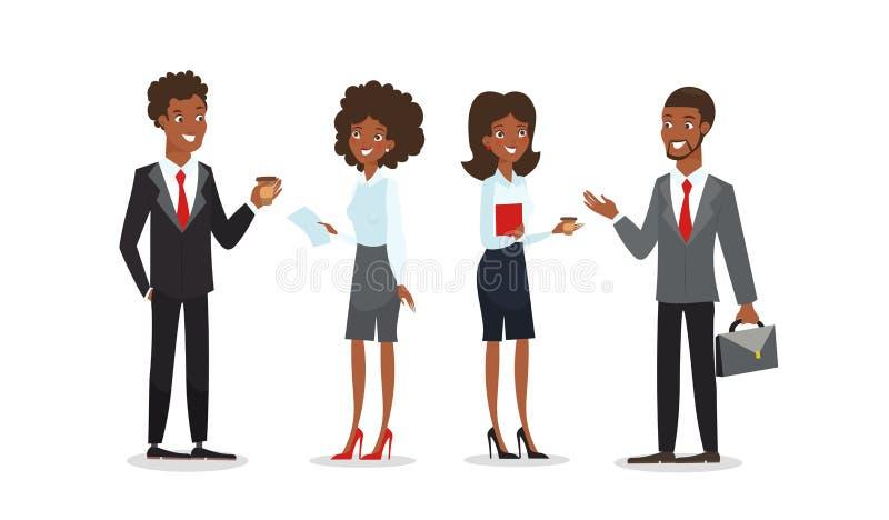 Sistema del ejemplo del vector de caracteres del negocio Colección de hombres de negocios afroamericanos y de empresarias que hab libre illustration
