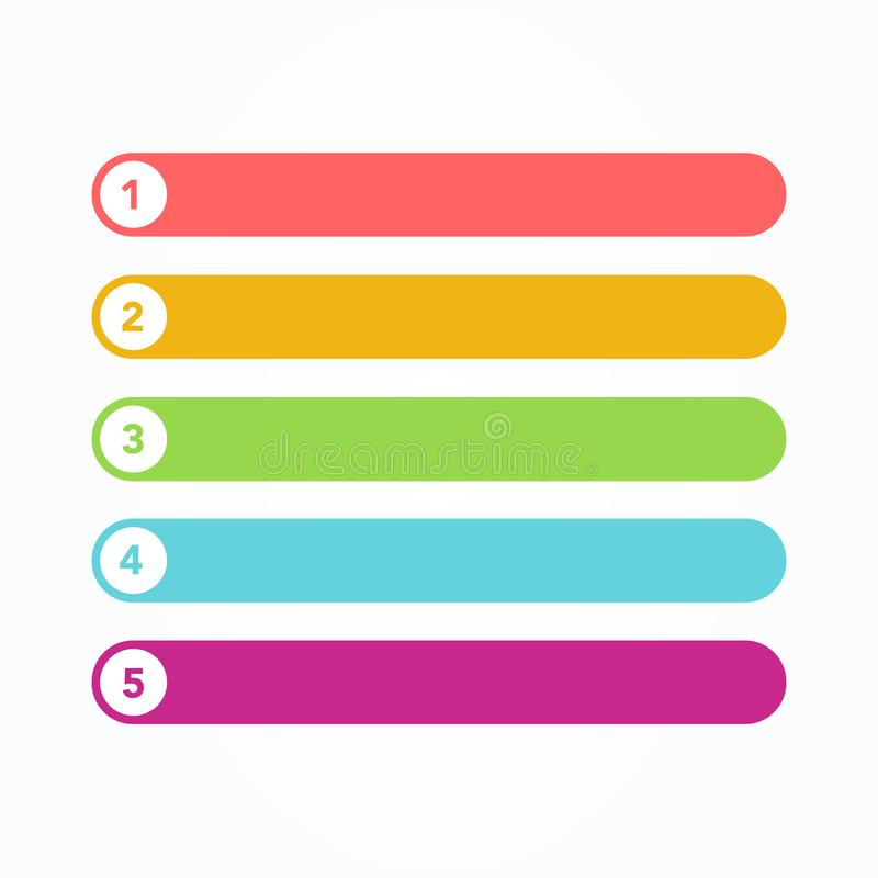 Sistema del ejemplo del vector de diversa línea plana botones modernos coloridos del estilo en el fondo blanco Uno dos tres cuatr libre illustration