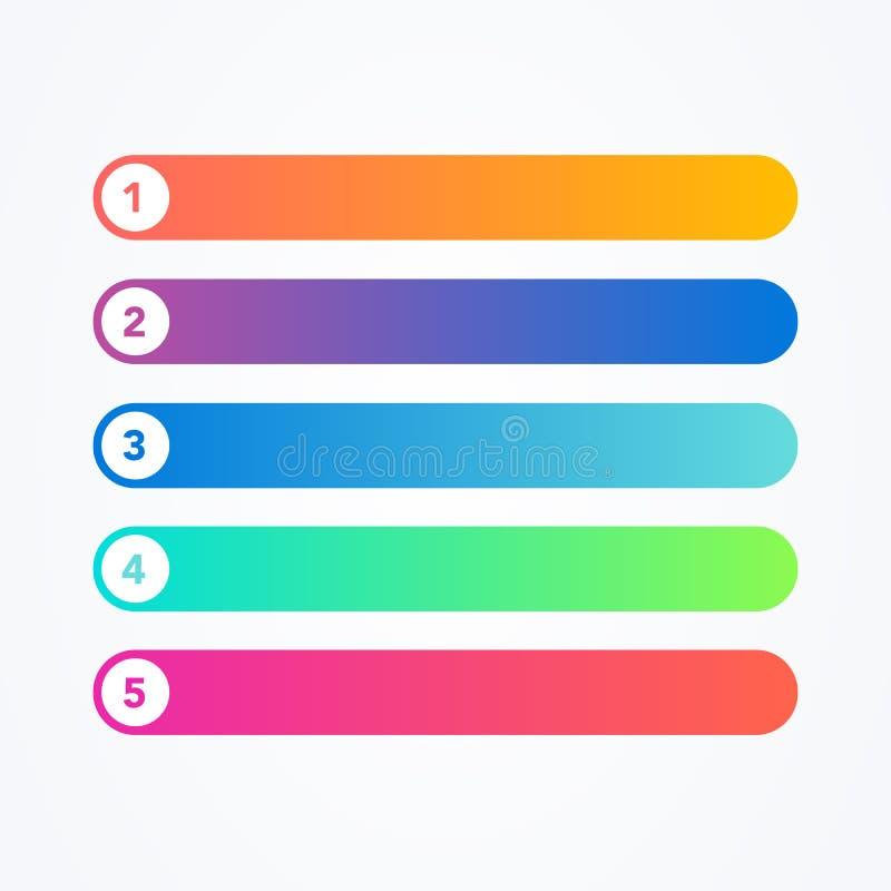 Sistema del ejemplo del vector de diversa línea plana botones modernos coloridos del estilo en el fondo blanco Uno dos tres cuatr ilustración del vector