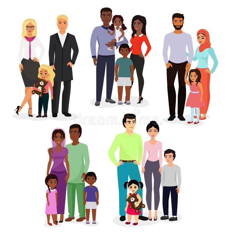 Sistema del ejemplo del vector de diversos pares y familias de los nacionales Gente de diversas razas, nacionalidades blancas ilustración del vector