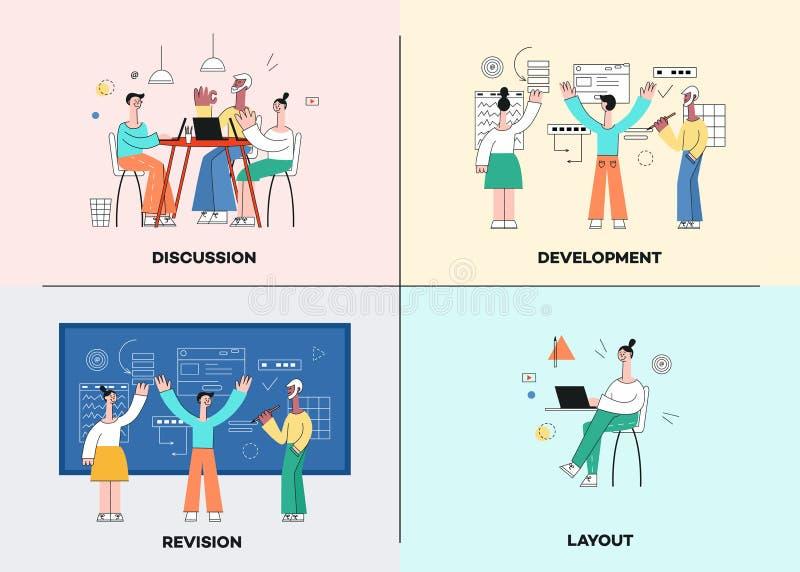 Sistema del ejemplo del vector de escenas del desarrollo de negocios en estilo plano de moda con el equipo que trabaja en proyect ilustración del vector