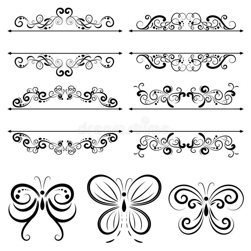 Sistema del ejemplo del vector de frontera caligráfico y de los divisores decorativos, remolino caligráfico libre illustration