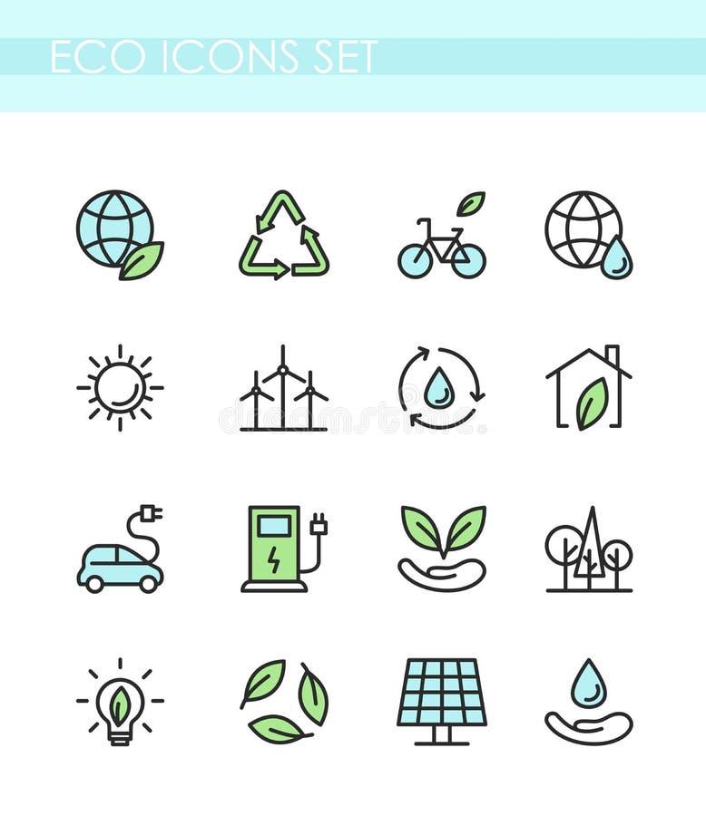 Sistema del ejemplo del vector de iconos del eco Concepto de la ecología, tecnología verde, forma de vida orgánica, sana, energía ilustración del vector