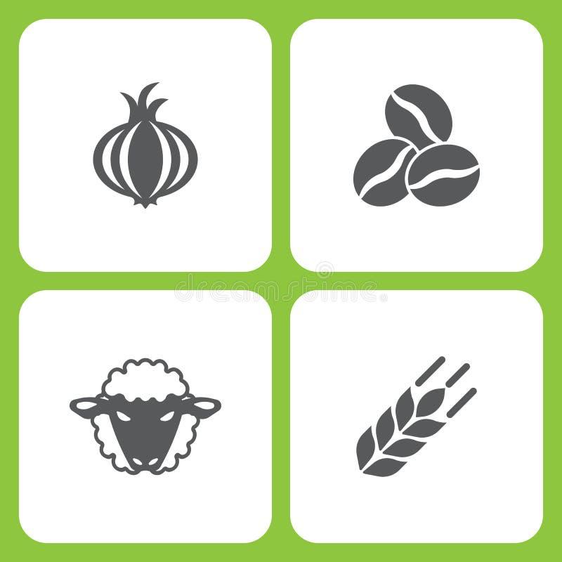 Sistema del ejemplo del vector de iconos simples de la granja y del jardín Elementos ajo, grano de café, oveja, trigo stock de ilustración