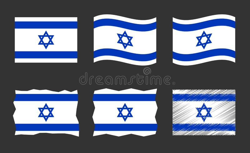 Sistema del ejemplo del vector de la bandera de Israel, colores oficiales del estado de la bandera de Israel libre illustration
