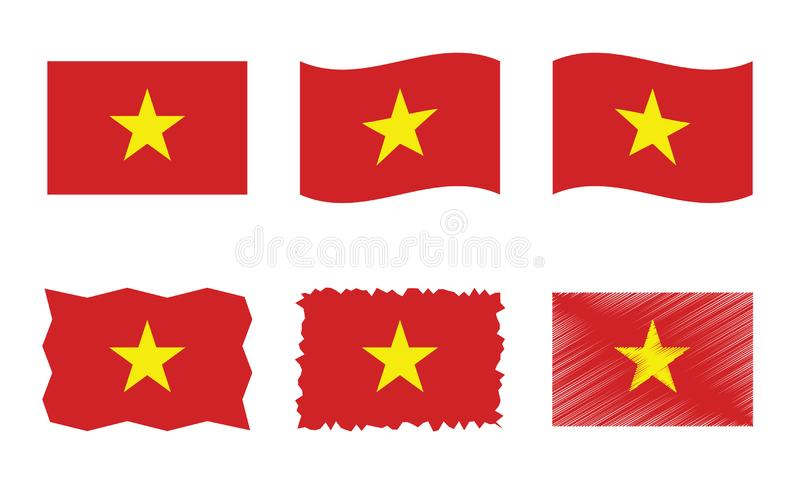 Sistema del ejemplo del vector de la bandera de Vietnam, colores oficiales de la bandera de la República Socialista de Vietnam libre illustration