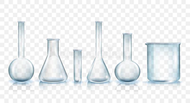 Sistema del ejemplo del vector de la cristalería de laboratorio libre illustration