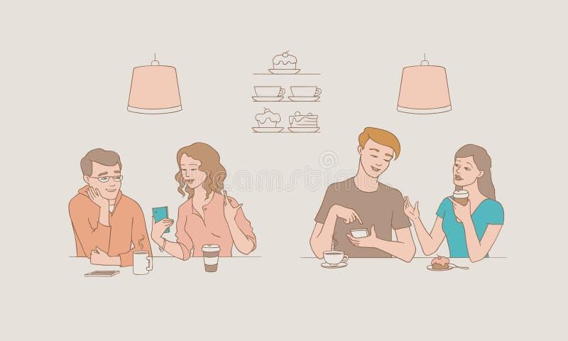 Sistema del ejemplo del vector de la gente que habla con los caracteres masculinos y femeninos que se sientan en el café y la cha stock de ilustración