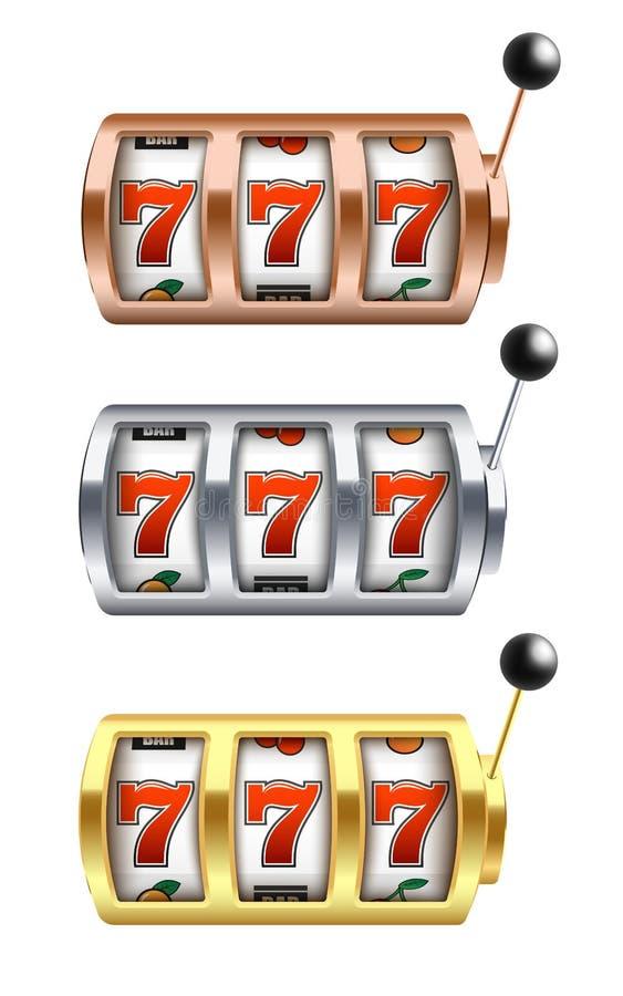 Sistema del ejemplo del vector de la máquina tragaperras con la combinación afortunada de tres sevens en estilo realista ilustración del vector