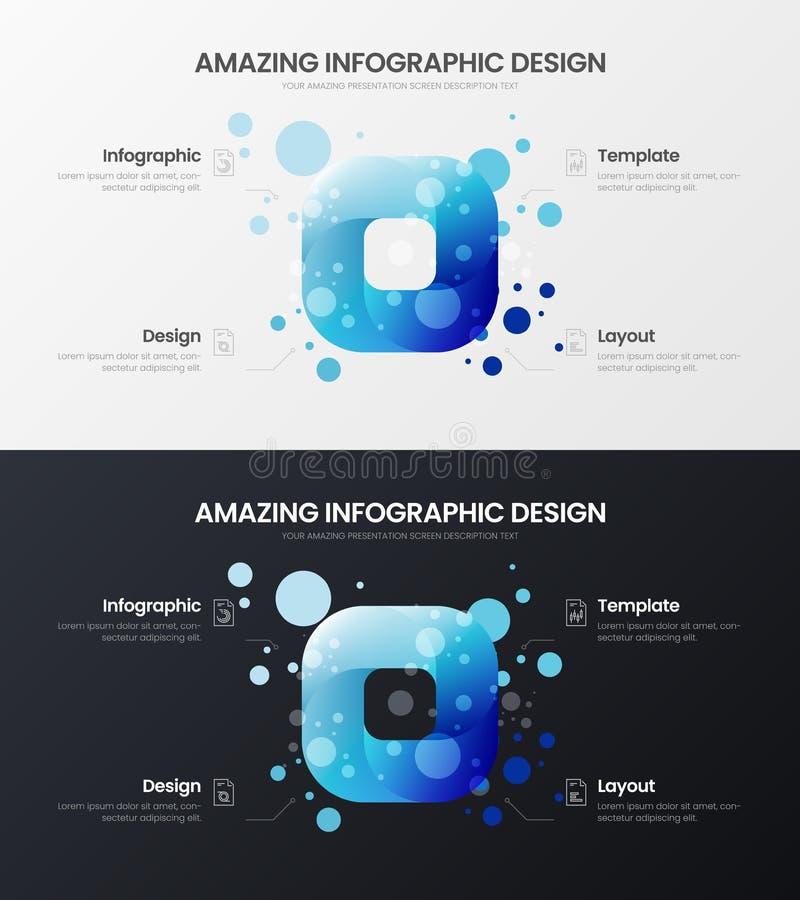 sistema del ejemplo del vector de la presentación de 4 de la opción del rectángulo analytics del márketing Paquete infographic de libre illustration