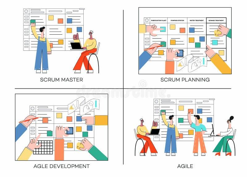 Sistema del ejemplo del vector de la técnica del planeamiento del melé del trabajo en equipo en banderas del desarrollo de progra ilustración del vector