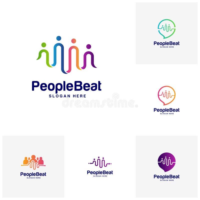 Sistema del ejemplo del vector de los conceptos de diseños de la plantilla del logotipo de la comunidad, conceptos batidos gente  stock de ilustración