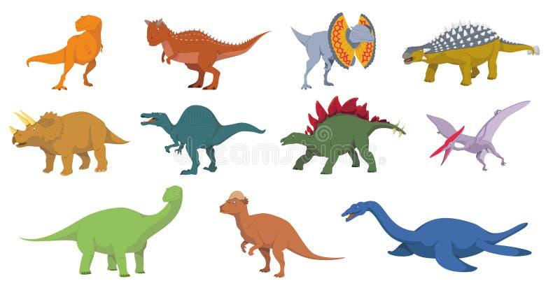 Sistema del ejemplo del vector de los dinosaurios en el fondo blanco libre illustration