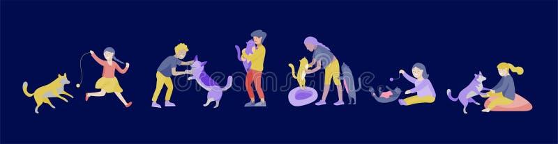 Sistema del ejemplo del vector de niños con los gatos y el perro Niños felices, divertidos que juegan, amor y tomando el cuidado  libre illustration