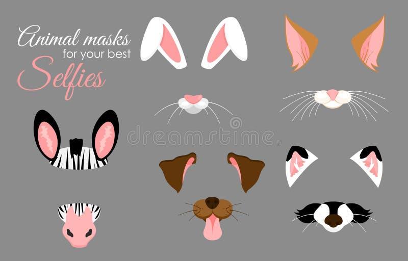 Sistema del ejemplo del vector de oídos y de máscaras animales lindos de la nariz para los selfies, las imágenes y el efecto vide ilustración del vector