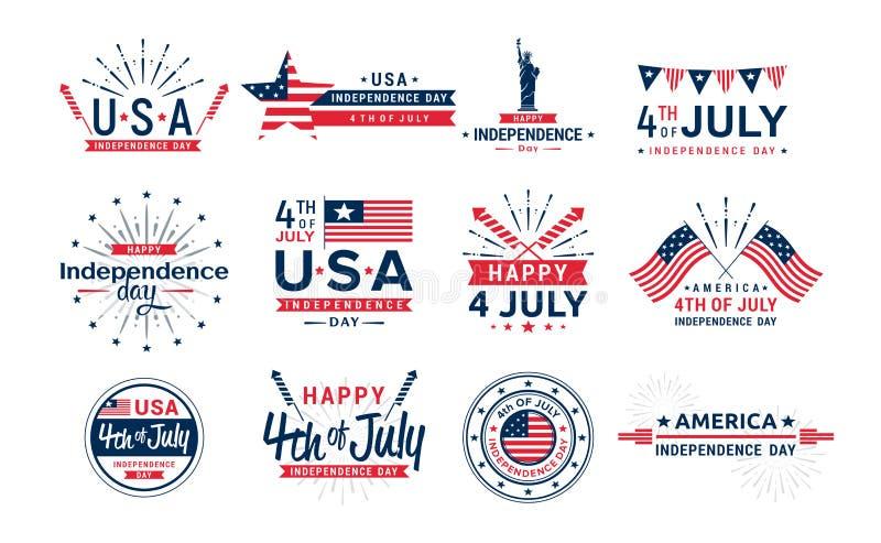 Sistema del ejemplo del vector de 4to de los iconos de julio, saludo indicado unido del Día de la Independencia Elementos para la ilustración del vector