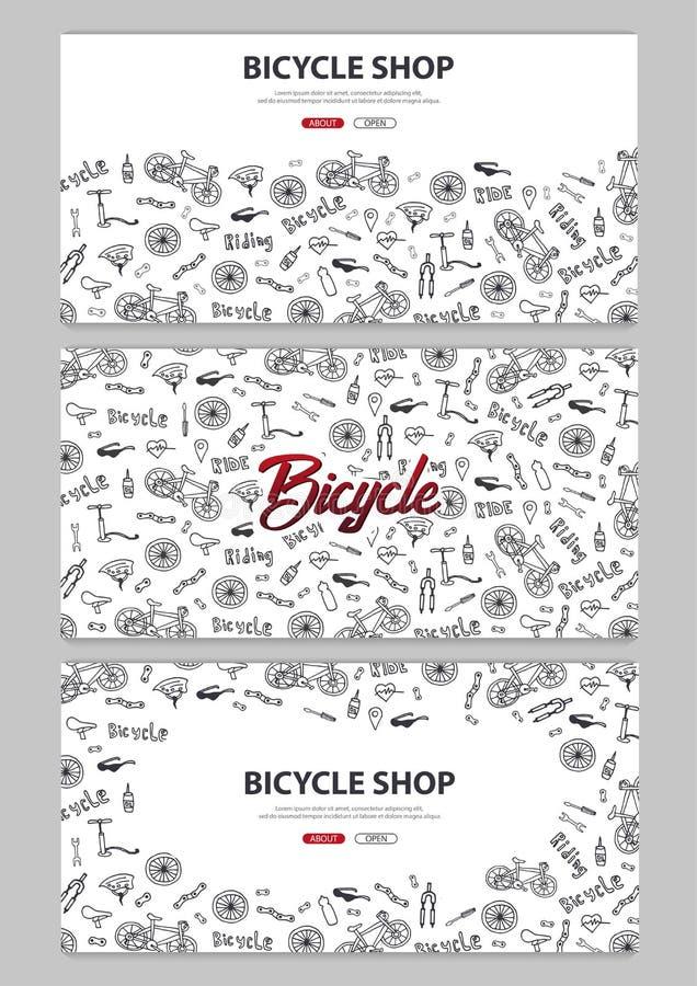 Sistema del ejemplo del vector del garabato de la bicicleta Concepto de forma de vida y de aventura biking para las banderas del  libre illustration