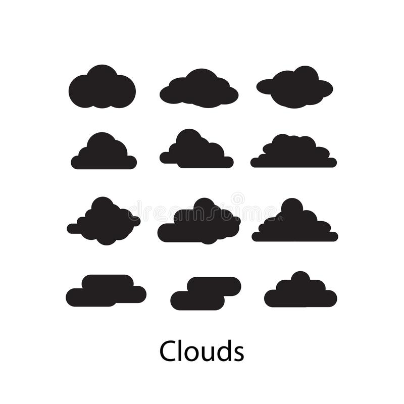 Sistema del ejemplo del vector del icono de las nubes en el fondo blanco ilustración del vector